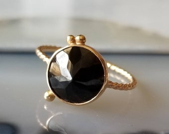 Unique 14k gold rose cut black spinel orbit ring, one of a kind ring, size 6.5