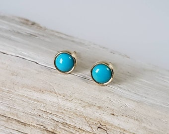 14k Gold Genuine Turquoise Post Earrings, Round Studs
