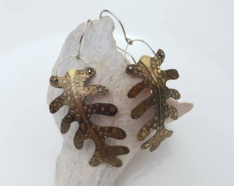 Fern leaf creatures earrings