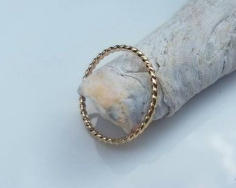 Dainty 14k gold twisted rope ring