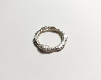 Organic Molten Recycled Silver Ring, Size 7.25