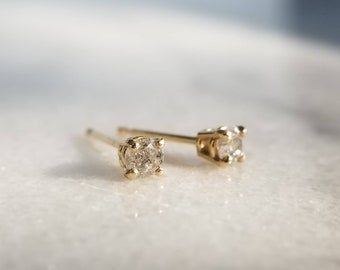 Sparkly 14k Gold Conflict Free Genuine 3mm Salt and Pepper Diamond Stud Earrings