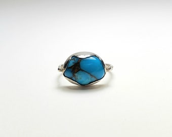 Unique Sterling Silver Petal and Turquoise Handmade Ring with Dot Pattern Band, Size 7