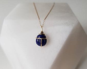 Unique 14k Gold Lapis Lazuli Scarab Talisman Pendant