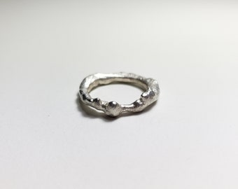 Organic Molten Recycled Silver Sphere Ring, Size 7