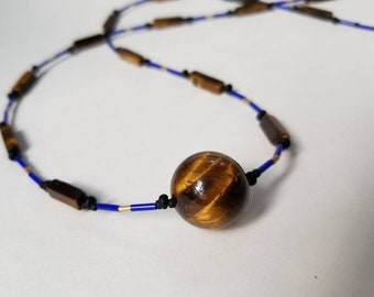 Tigers eye and Japanese micro beads long layering necklace