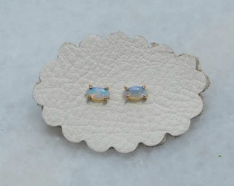 Tiny Australian Opal Nebula Earrings, 14k Gold Studs