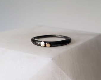 Sterling Silver Tapered Band with 14k Gold Dots, Size 7.25