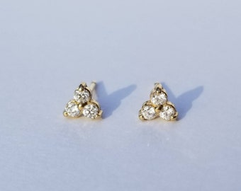 Genuine diamond cluster gold studs, 14k gold natural three stone post earrings