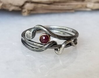 One of a kind sterling silver, 14k gold and ruby snake ring, size 6.75