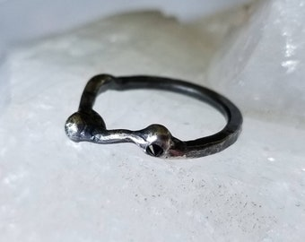 Unique molten and hammered ring with black spinel ring, sterling silver, size 7