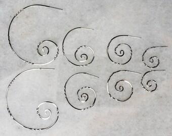 Unfurling Handmade Sterling Silver Post Twisted Hoops