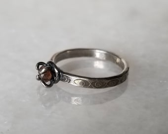 Unique oxidized sterling silver mystic eye ring with claw set raw diamond ring, size 6.75