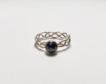 Unique Hand Braided Sterling Silver Pyrite Ring, Size 7