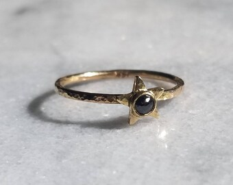 Black and Gold Diamond Star, Unique Handmade Hammered Stacker Ring, Size 6.5