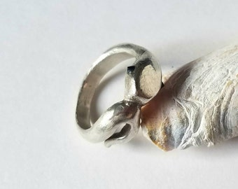 One of a kind sterling silver ring, little snake with inverted black spinel eyes, size 6.5