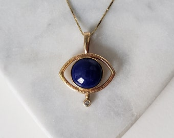 Unique 14k Gold Lapis Lazuli and Genuine Diamond Mystic Eye Talisman Pendant, Handmade OOAK