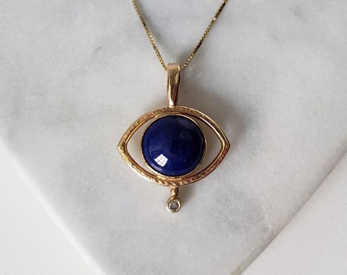 Featured listing image: Unique 14k Gold Lapis Lazuli and Genuine Diamond Mystic Eye Talisman Pendant, Handmade OOAK