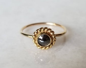 14k Gold Rose Cut Black Diamond Wreath Ring, Handmade OOAK, Size 8