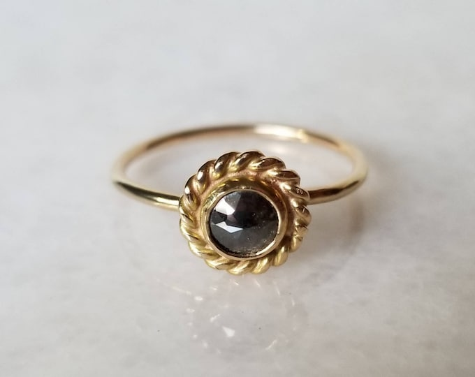 Featured listing image: Unique 14k gold rose cut black diamond ring, one of a kind, size 8