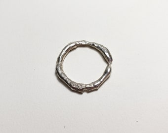 Organic Molten Recycled Silver Ring, Size 8