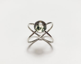 Sterling Silver Double Band Crystal Quartz & Moss Agate Adjustable X-Ring