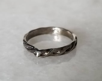 Oxidized twisted arch sterling silver ring