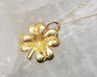 Realistic 14k gold four leaf clover pendant, lucky charm pendant, good luck pendant