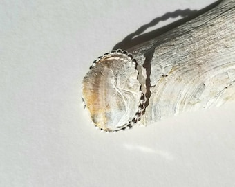 Sterling silver hammered bead  ring, size 6.75