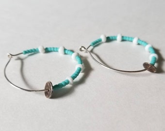 Handmade Sterling Silver  Stamped Disc Hoops Beaded Earrings