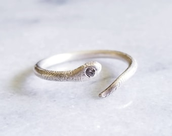 One of a kind sterling silver snake ring with diamond