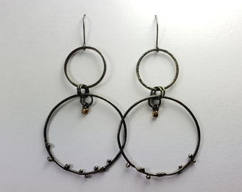 Sterling Silver Large Multi Hoop Earrings with 14k Gold Dangles
