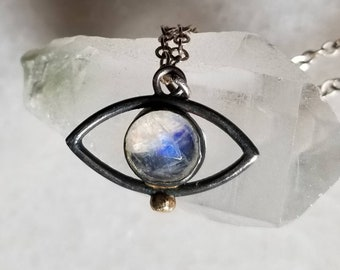 Oxidized sterling silver moonstone eye pendant with gold accent