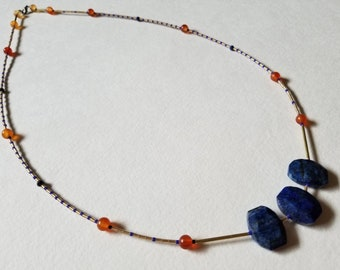 Faceted Lapis Lazuli and Carnelian Long Beaded Layering Necklace Inspired by Ancient Egypt