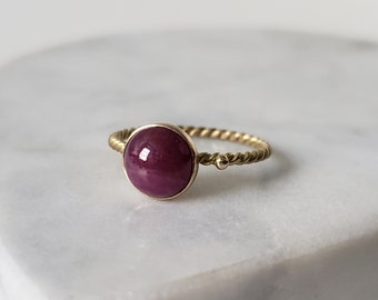 14k Gold Twist Natural Ruby Cabochon Ring, Handmade Size 7