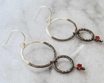 Two Tone Sterling Silver and Opal Double Hoop Earrings