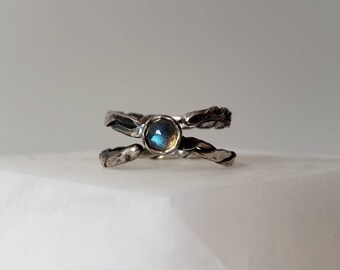 Unique Sterling Silver Twisted Adjustable Ring with Rose Cut Labradorite