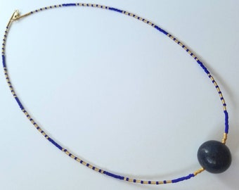 Ancient Egyptian inspired lapis lazuli beaded necklace