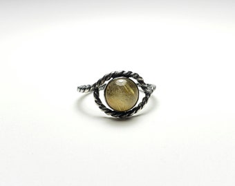 Handmade Rutilated Quartz Mystic Eye Twisted Sterling Silver Rope Ring, Size 7