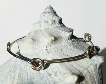 Unique Infinite Knots, Love Knots, Forget Me Not Sterling Silver Bangle