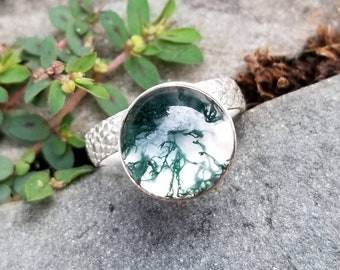 Striking moss agate and quartz doublet sterling silver ring, size 7