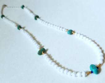 Handmade white beaded necklace with natural turquoise nuggets and Japanese micro beads