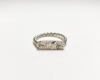 Celestial Shield Sterling Silver Unisex Ring, Size 8