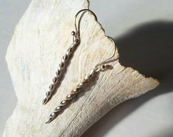 Small sterling silver twist earrings