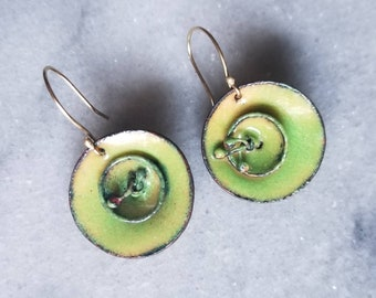 Abstract Nature Themed Enamel Earrings with 14k Gold Ear Hooks