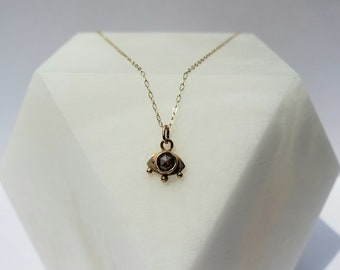 14k Gold and Rustic Rose Cut Diamond Mystic Eye Pendant, Handmade Evil Eye Jewelry