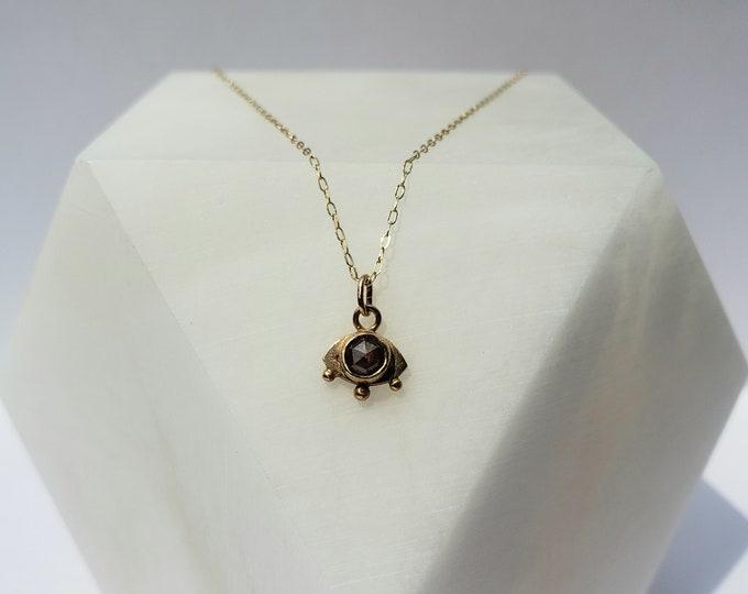 Featured listing image: 14k Gold and Rustic Rose Cut Diamond Mystic Eye Pendant, Handmade Evil Eye Jewelry