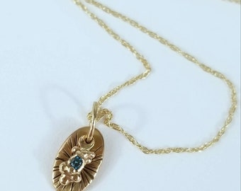 Tiny relic oval granulated 14k gold with blue diamond solitaire pendant, OOAK handmade stamped gold necklace