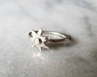 Unique hammered band opal star ring, sterling silver and fine silver, size 7.5