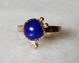 Lapis lazuli and diamond 14k gold talisman ring, size 7